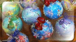 Новогодние эбру - шары